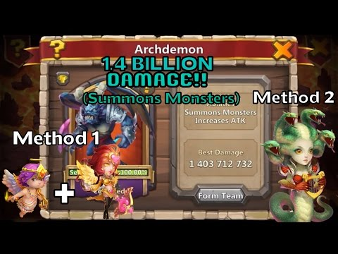 Castle Clash: 2 Methods To Score 1 BILLION+ DMG On Archdemon (Summons Monsters)