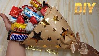 как сделать букет из конфет своими руками видео самый простой