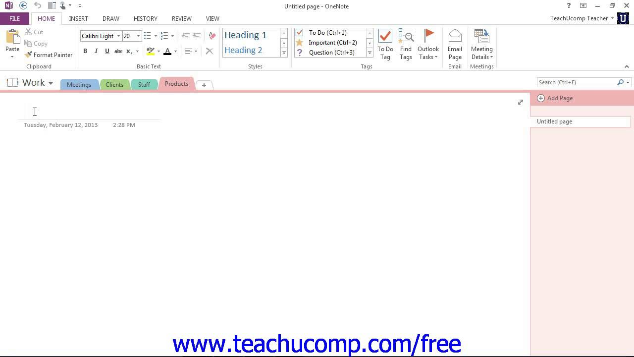 onenote 2013 tutorial creating, moving and deleting sections and