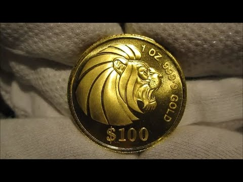 1990 Singapore Lion Head Gold Coin 1 Oz