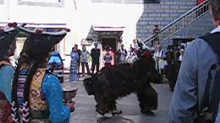 チベット ラサのヤクホテル駐車場 踊りの詳細は全くわからず、賑やかだ...