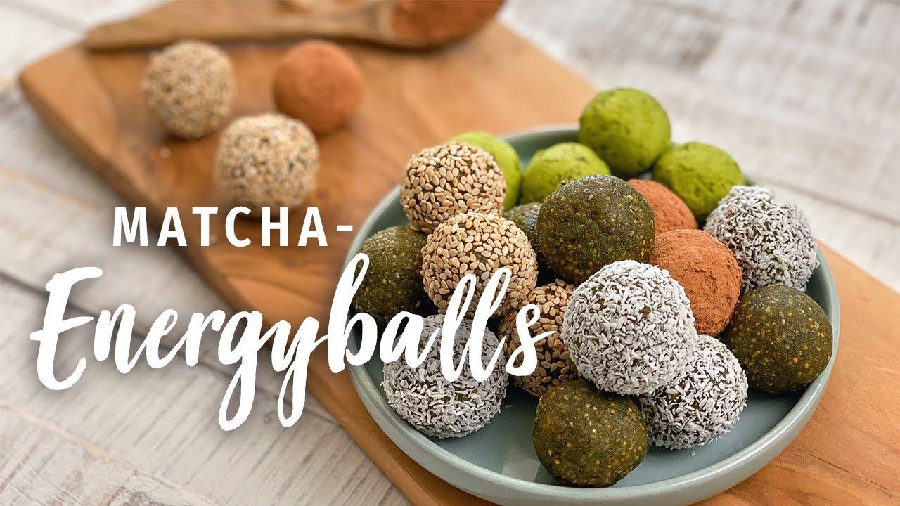 Naschen ohne Zucker: Matcha Energyballs - Matcha als Fatburner! | Gesunde vegane Süßigkeit!