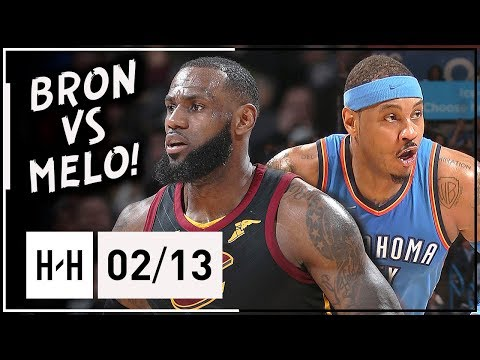 LeBron James vs Carmelo Anthony ELITE Duel Highlights 2018.02.13 Cavs vs Thunder - LBJ with 37 Pts!