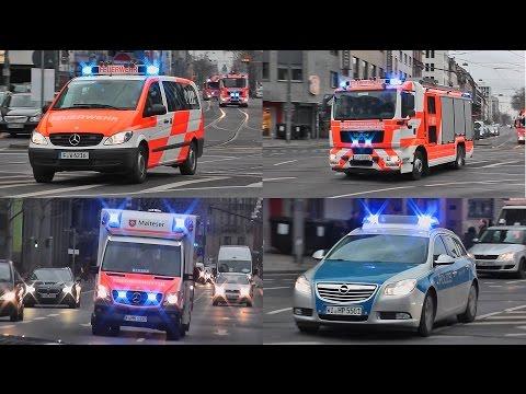 [NUR LED BLAULICHT] Feuerwehr + Rettungsdienst + Polizei Frankfurt/Main im Dauereinsatz