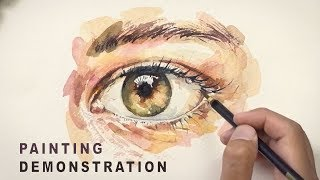 WATERCOLOR PAINTING DEMONSTRATION #1 - How to Paint An Eye