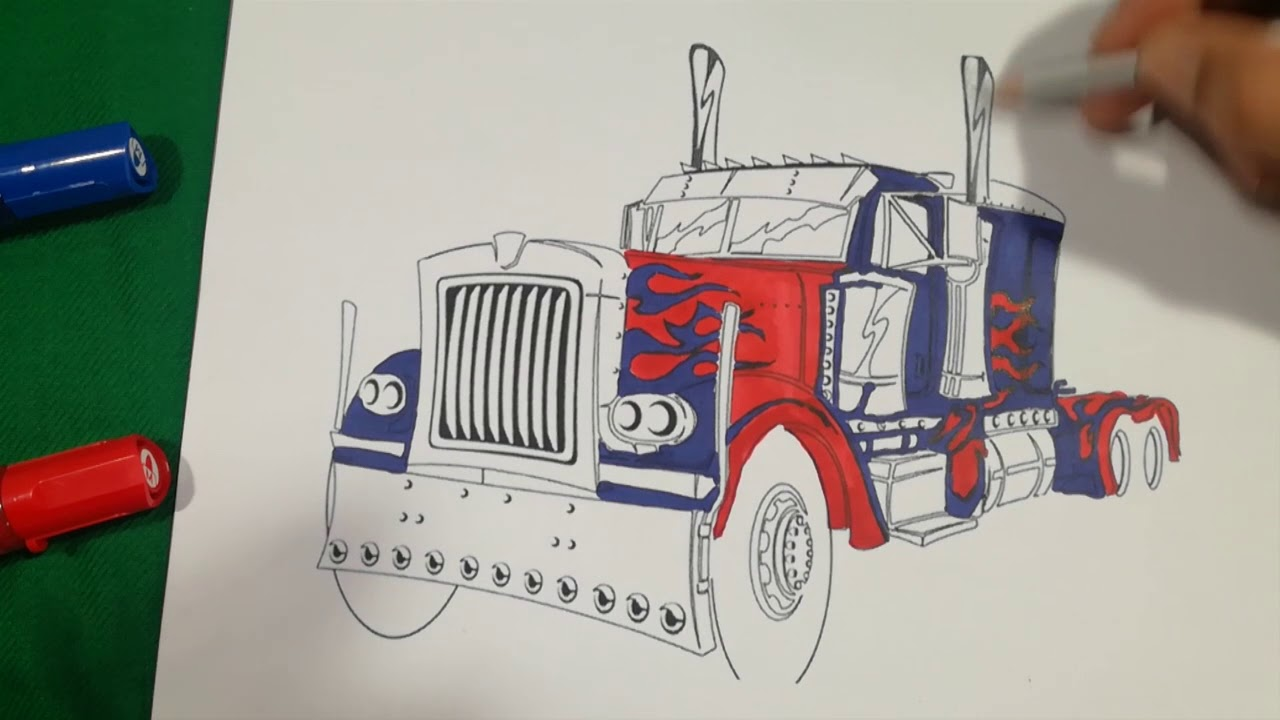 OPTIMUS PRIME SUPER FIGHT TRUCK Coloring Pages SAILANY Coloring Kids ...