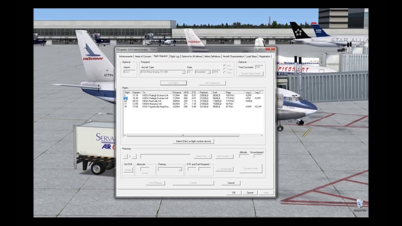 FSX Flying Piedmont with FSCaptain in the MilViz 737 200 Part 1