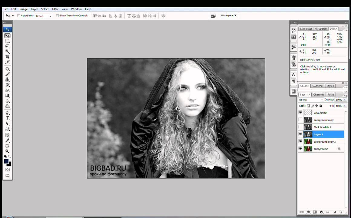 Как сделать чб фото с одним цветом 718
