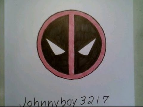 how to draw deadpool logo sign chibi face easy step by step tutorial emblem youtube