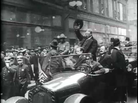 Theodore Roosevelt Riding in Auto