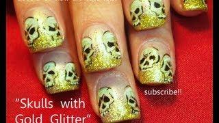Nail Art Tutorial   Diy Halloween Nails   Glitter Skulls