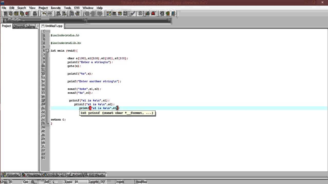 37.scanning strings using gets() and scanf() in C - YouTube