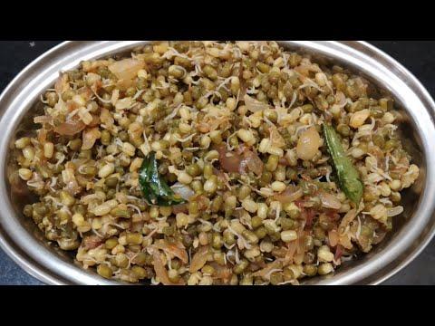 mulai-kattiya-pachai-payaru-recipe-/-sprouts-poriyal-/-sundal-recipe-/-healthy-snacks-without-oil