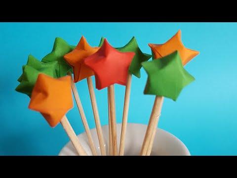 Origami Lucky Stars Toothpicks, easy origami stars