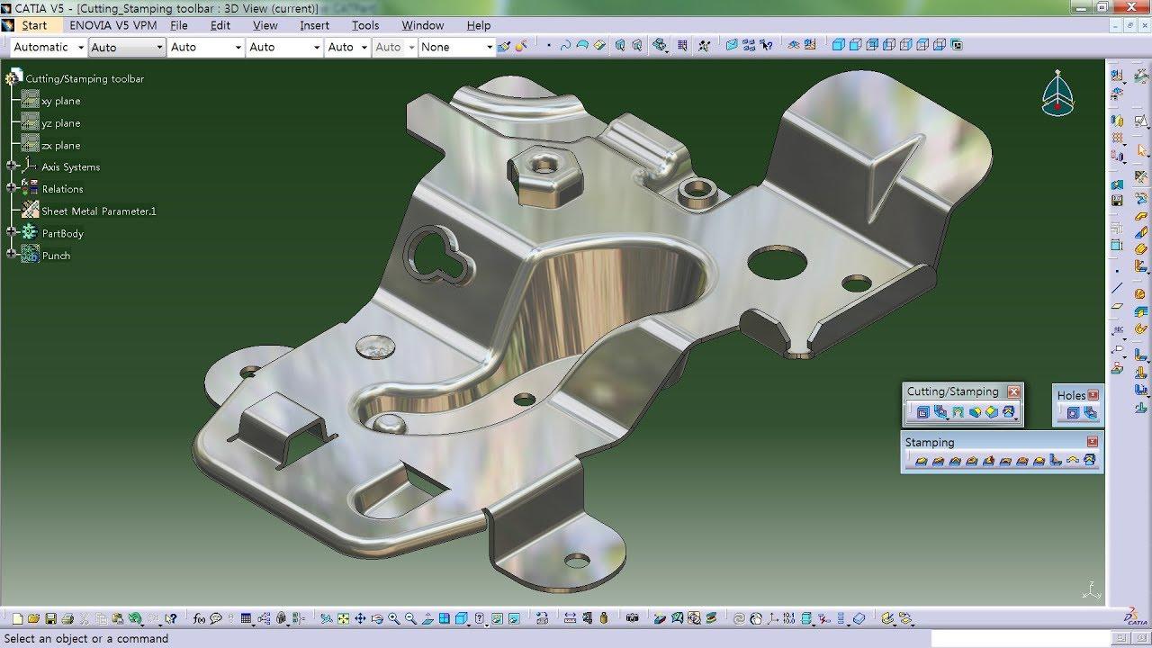 Catia Generative Sheet Metal Design Cutting Stamping Toolbar Youtube