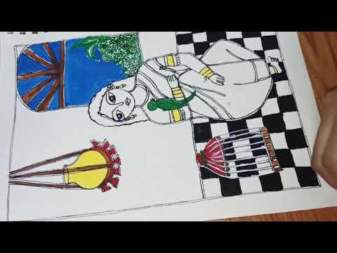 Madhubani painting design,  modern art, Indian folk art, Mithila painting