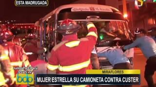 Miraflores: aparatoso choque entre camioneta y cúster 'pirata' en av. Arequipa