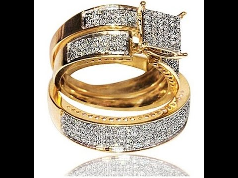 engagement rings 1ct diamond yellow gold trio wedding set princess cut style pave his and her - Gold Wedding Rings For Her
