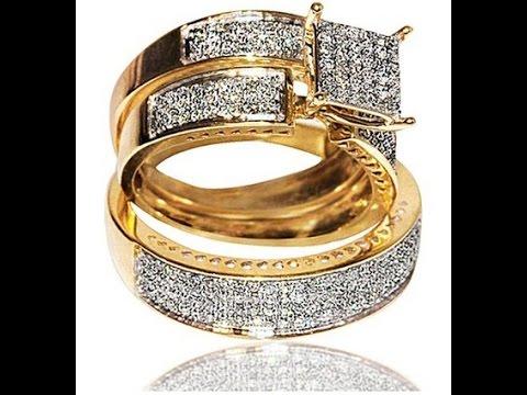 engagement rings 1ct Diamond Yellow Gold Trio Wedding set