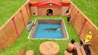 Building The Most Swimming Pool Crocodile Around The Secret Underground House