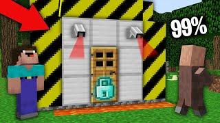 Minecraft NOOB vs PRO:99% VILLAGERS CANT OPEN SECRET DOOR WITH DIAMOND LOCK! Challenge 100% trolling