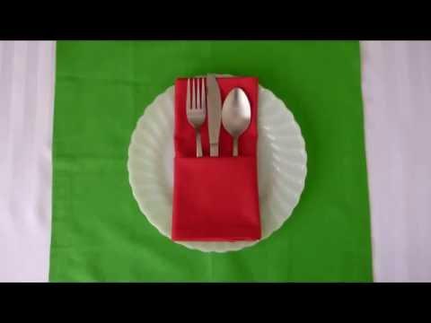 Как сделать из салфетки кармашки для сервировки столовых приборов   Ярмарка Мастеров