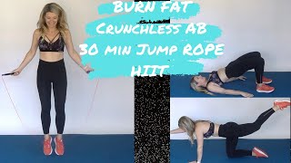 30 min jump rope HIIT crunch less AB workout