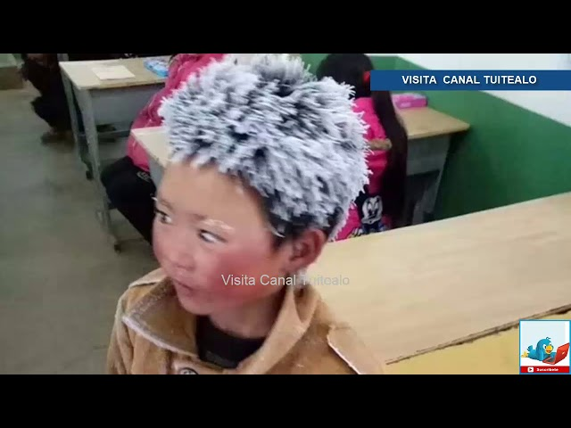 La imagen de un niño chino con la cabeza congelada se hace viral