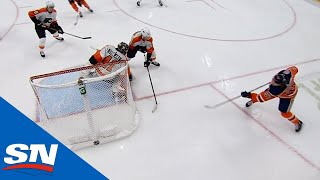 Connor McDavid Banks Puck In Off Anthony Stolarz From Below Goal Line