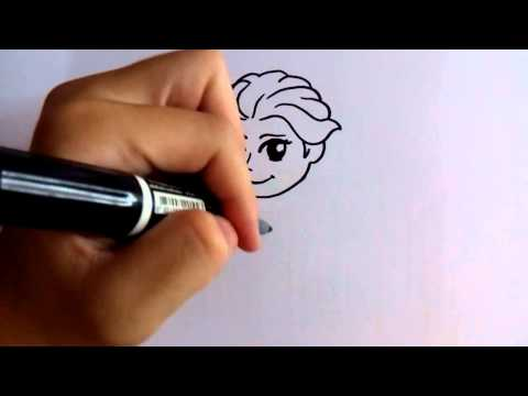 สอนวาดรูป การ์ตูน เจ้าหญิง เอลซ่า elsa วาดการ์ตูนกันเถอะ