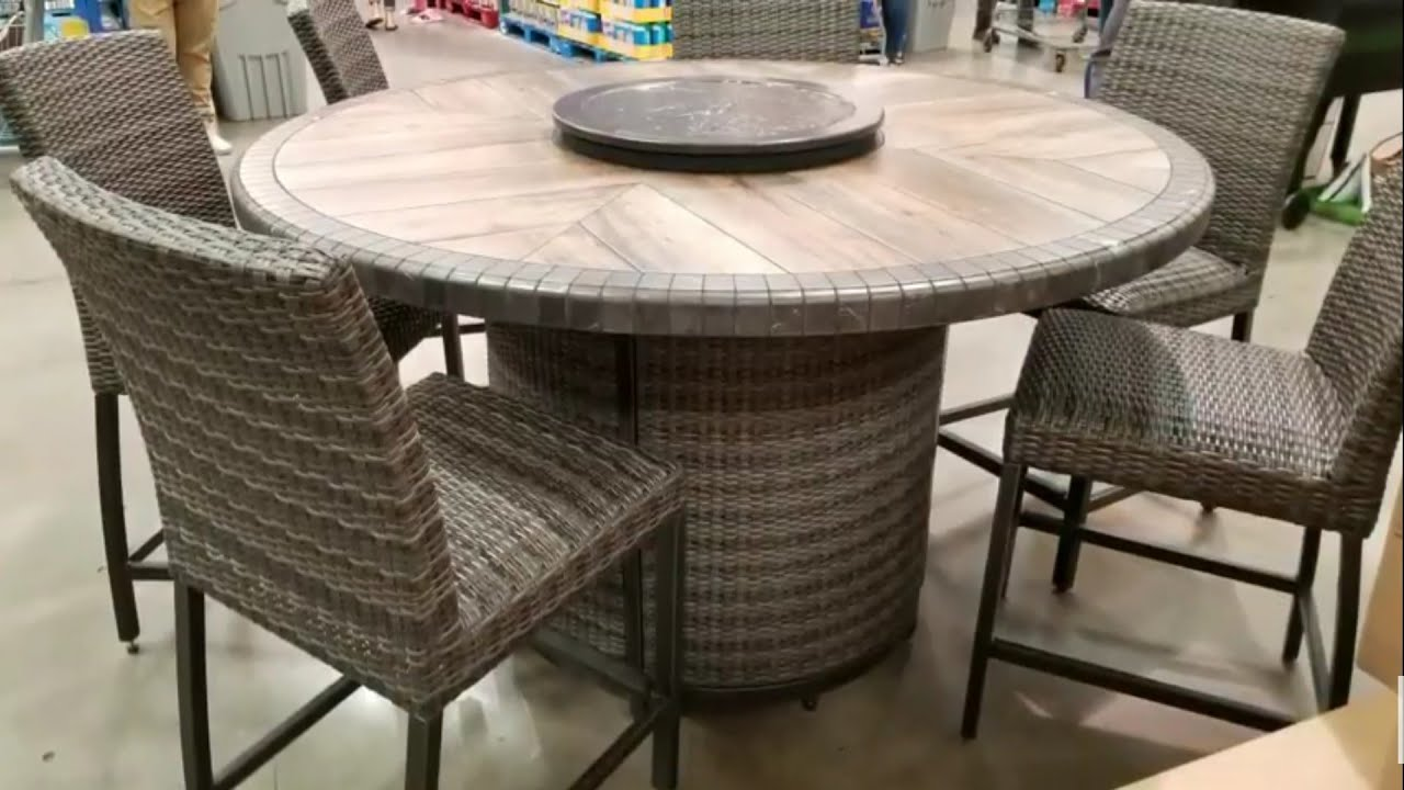 High Top Table Chair Set Hydro Massage Costco Agio 7 Pc Dinning With Fire 1299 Youtube