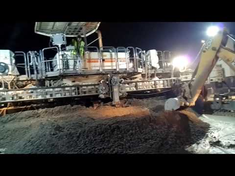 PQC laying with paver machine on highway road project