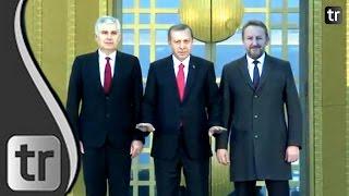 Staatspräsident Erdoğan empfängt Bosniens Präsidialrat Izetbegović und Čović im Ankara Palast 2015