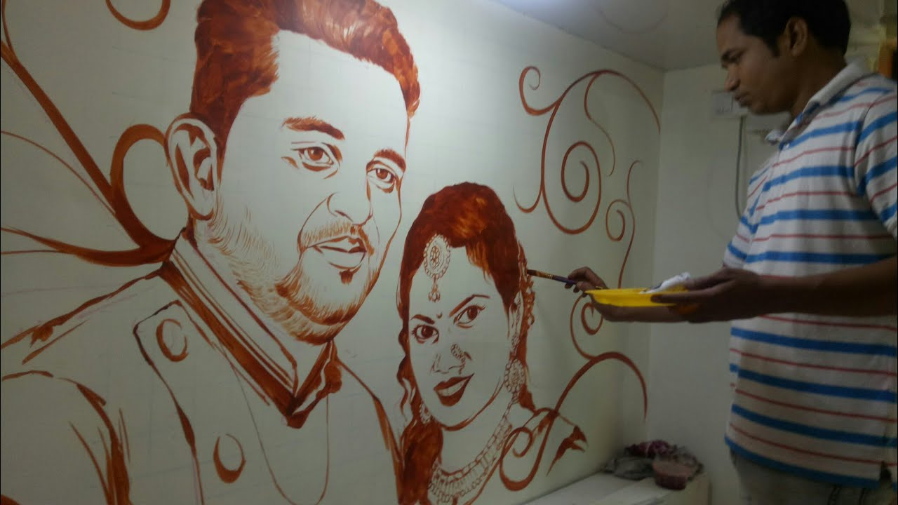 Master Bedroom Wall Painting Couple Portrait Youtube