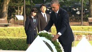 شاهد.. أوباما يضع الزهور بحديقة السلام بهيروشيما
