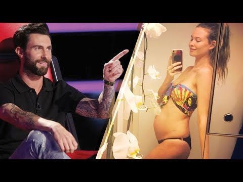 'The Voice' Coach Adam Levine & Wife Behati Prinsloo Reveal Baby #2 with Bump Photo