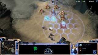 Protoss Human vs Terran Elite AI on SC2 HOTS Akilon Wastes Map