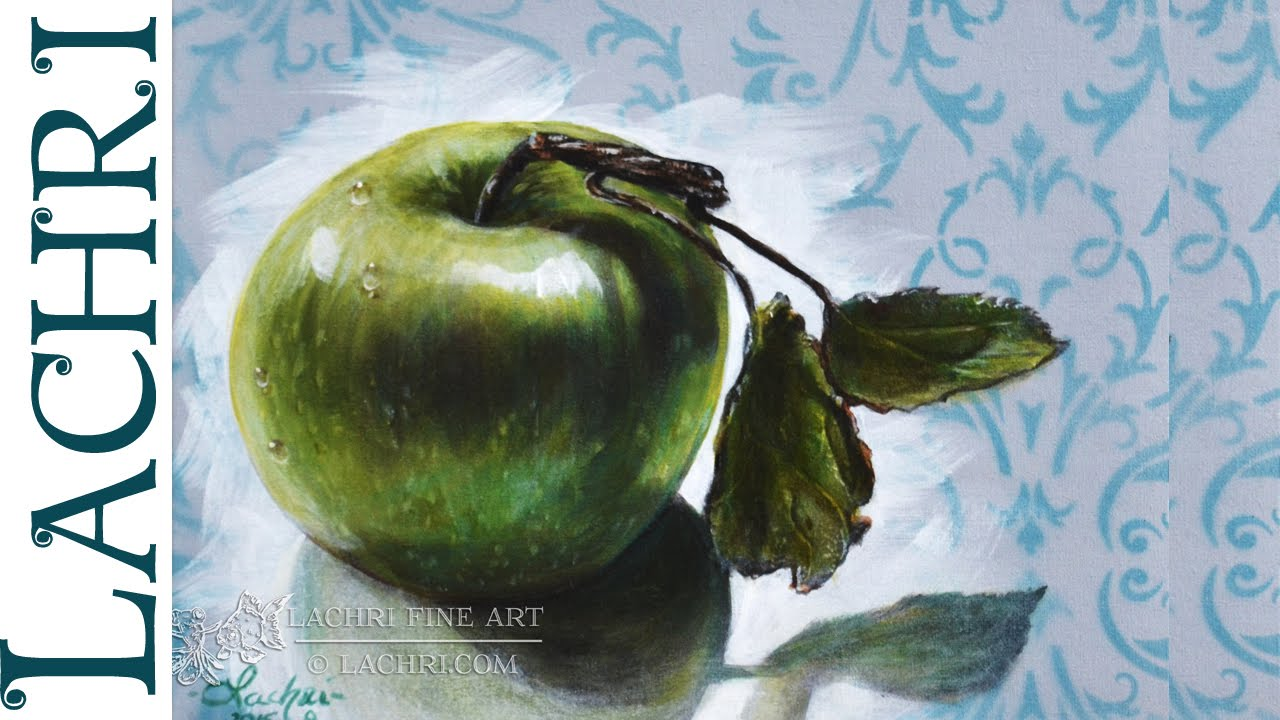 Speed Painting green apple acrylic - Time Lapse Demo by Lachri