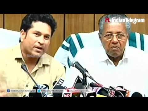 Kerala Chief Minister Pinarai Vijayan And Sachin Tendulkar Together Conducting PressMeet