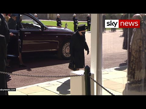Queen arrives at chapel for Prince Philip's funeral service