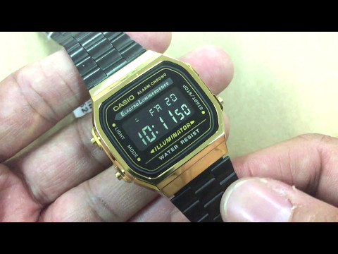Review นาฬิกา  Retro Vintage ที่สวยที่สุดในขณะนี้  Casio Digital Black & Gold รุ่น A168WEGB-1BEF