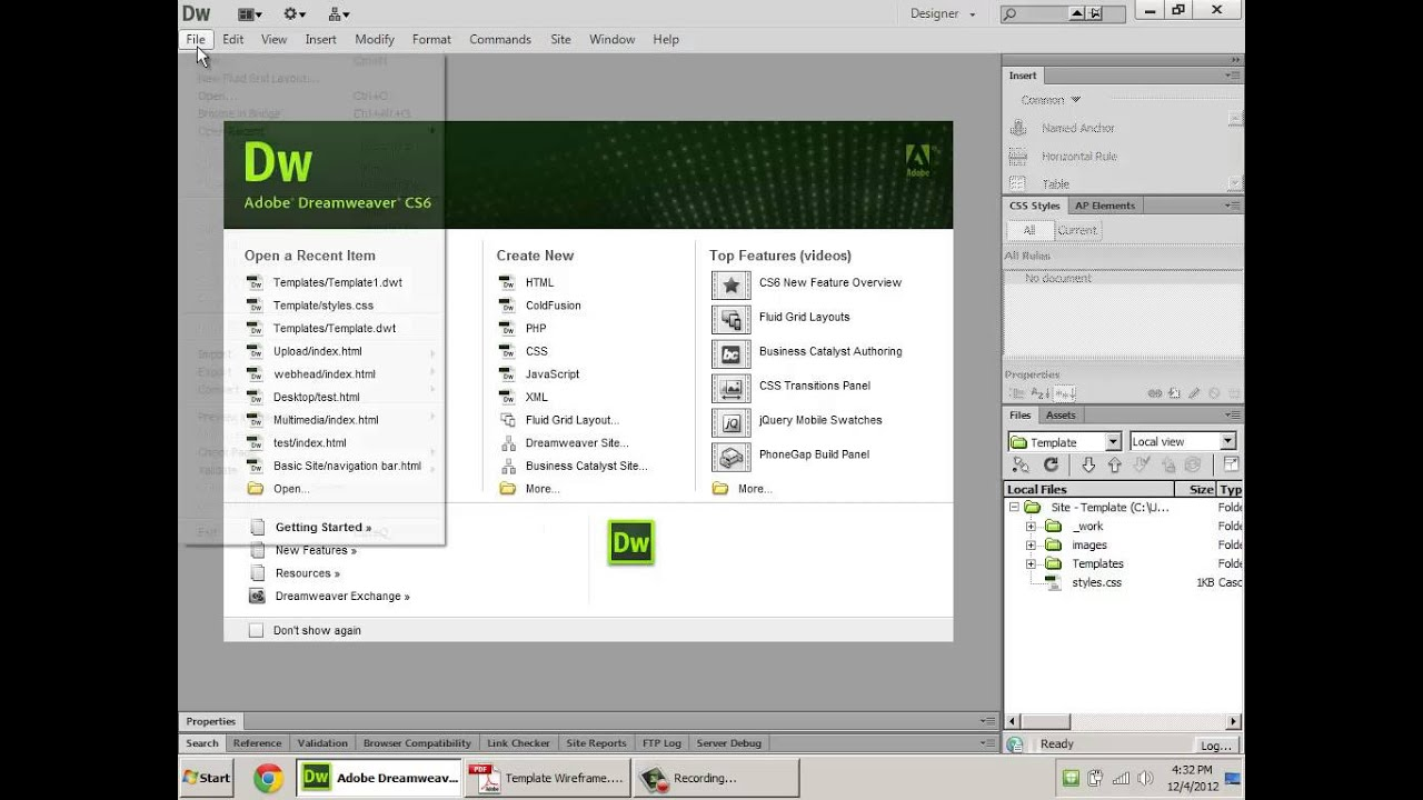 How to create html5 templates in dreamweaver youtube for Templates for dreamweaver cs6