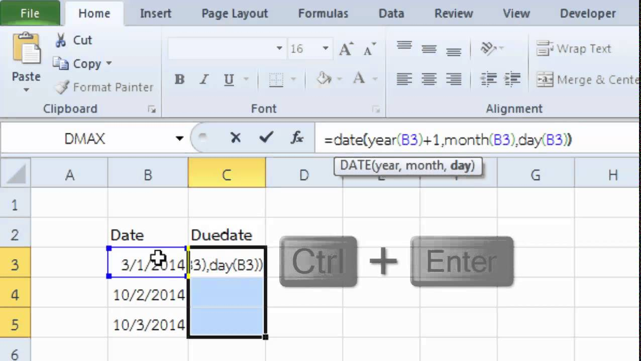 Microsoft Excel Conditional Formatting Base on Due date