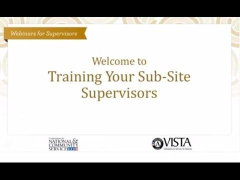 Training Your Sub Site Supervisors Webinar