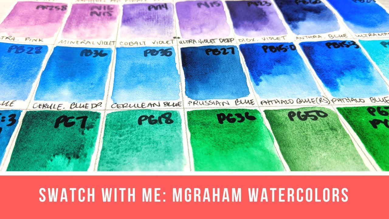 Swatch with Me: M. Graham Watercolors (47 Colors) - YouTube