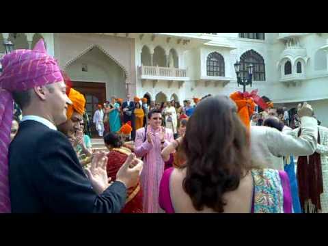 Neil Chandler's elephant-back wedding arrival