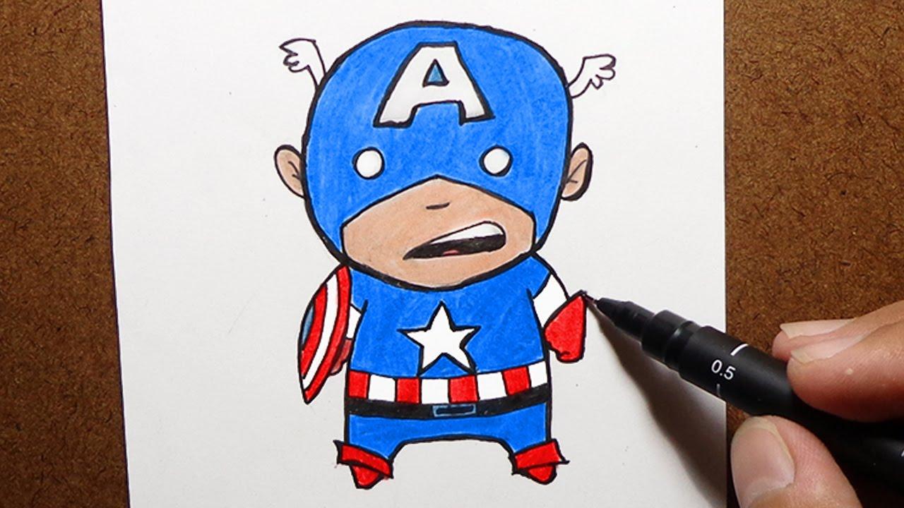 Como Desenhar O Capitao America Super Heroi Marvel Youtube