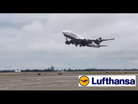 Lufthansa Boeing 747-400ER Takeoff Seattle-Tacoma International Airport