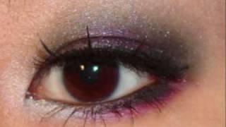 dark smokey navy and pink eye makeup tutorial