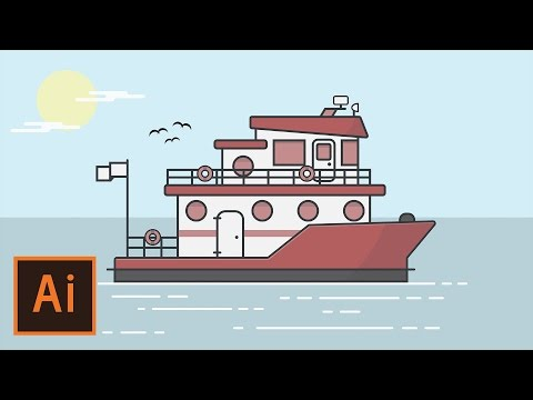 Illustrator Tutorial - Boat and Ocean Flat Design (Illustrator Flat Design Tutorial)